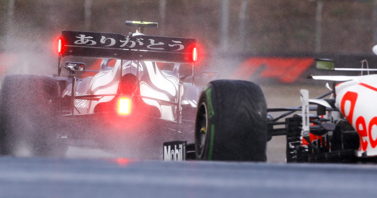 Pierre Gasly leads Sergio Perez in the wet. Turkey October 2021