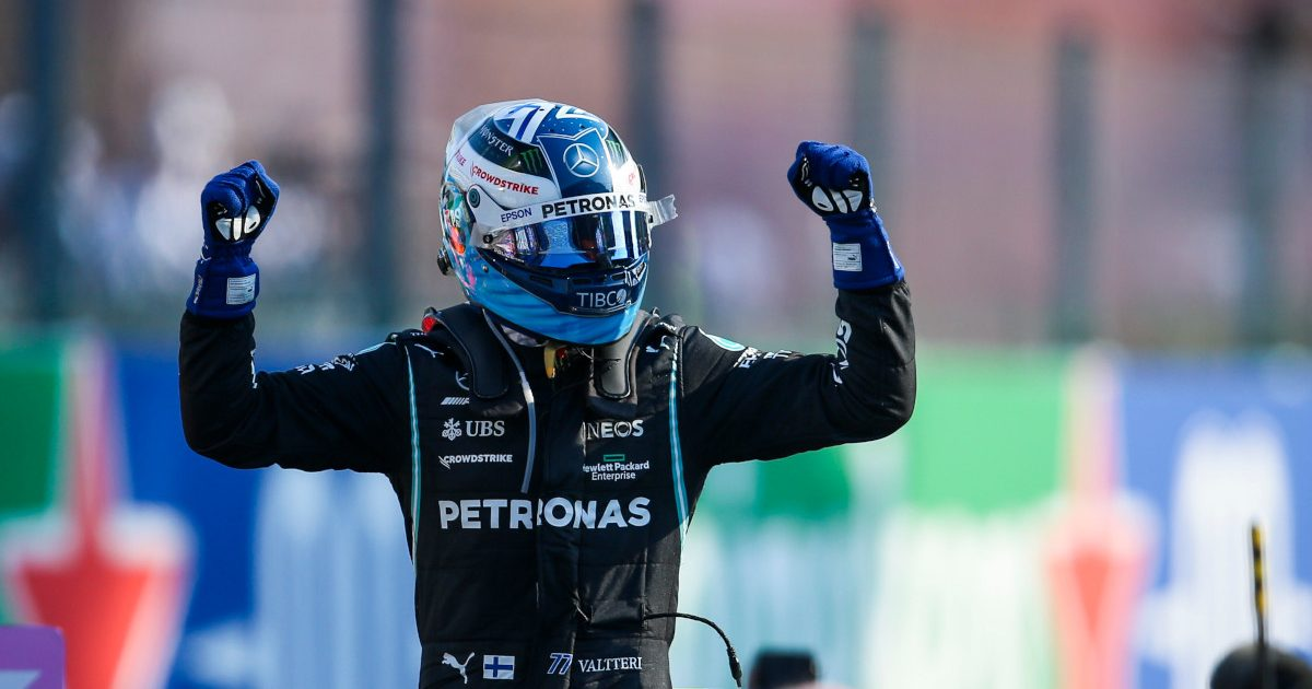 Valtteri Bottas arms raised in celebration. Italy September 2021