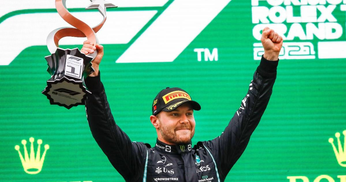 Valtteri Bottas celebrates his Turkish Grand Prix win. Istanbul October 2021.