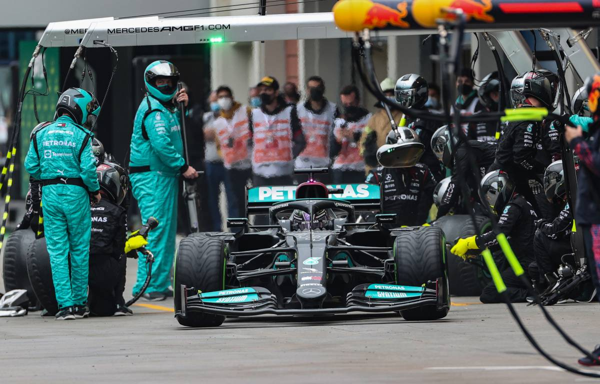 Lewis Hamilton exits the pits during the Turkish Grand Prix. Istanbul October 2021.