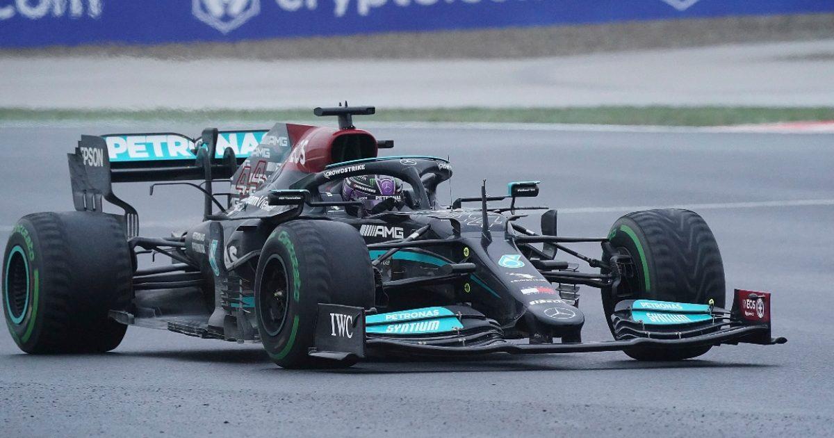 Lewis Hamilton racing at Istanbul Park. Turkey October 2021