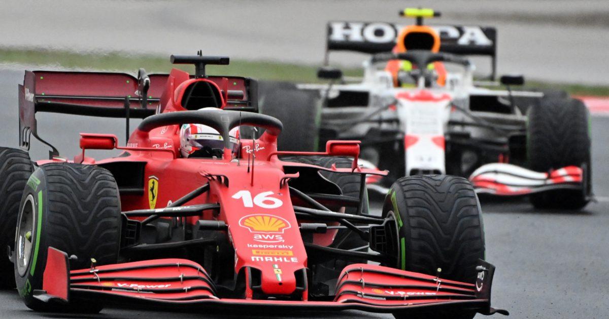 Charles Leclerc ahead of Sergio Perez. Turkey October 2021