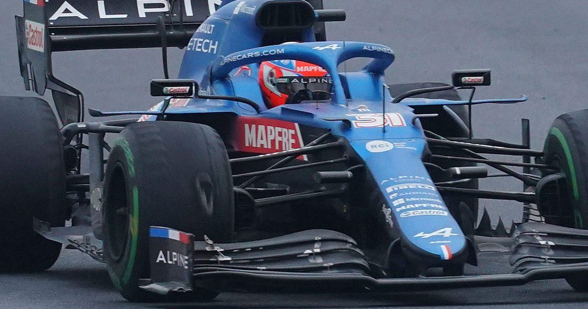 Esteban Ocon with worn intermediate tyre. Turkey October 2021