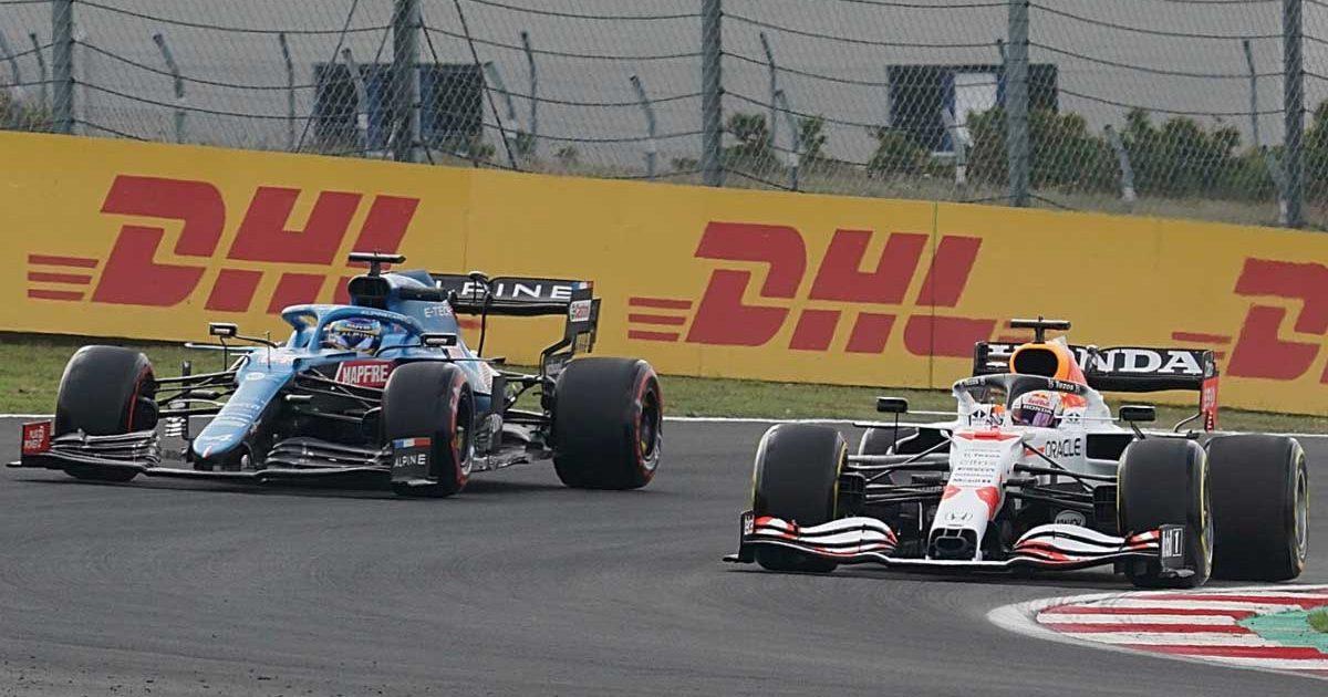 Fernando Alonso alongside Max Verstappen. Istanbul October 2021.