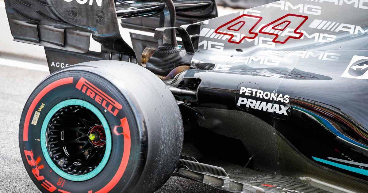 A close-up of Lewis Hamilton's Mercedes W12. France June 2021.