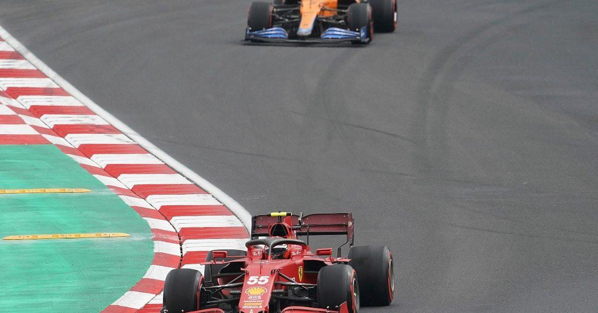 Daniel Ricciardo follows Carlos Sainz at Istanbul Park. Turkey October 2021