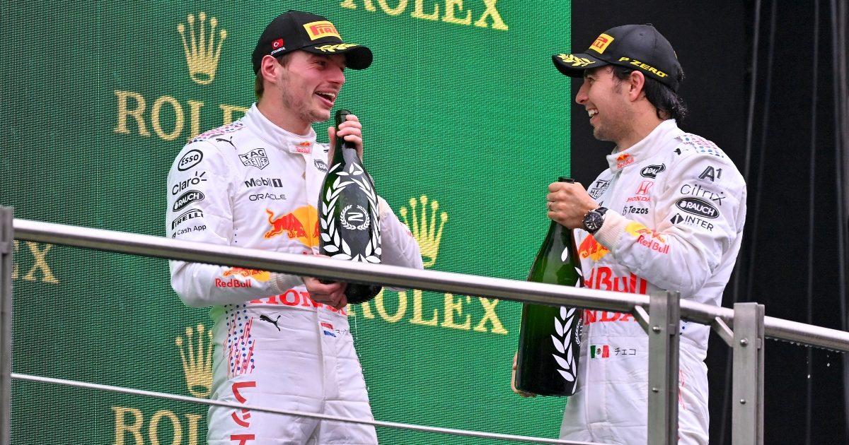 Max Verstappen and Sergio Perez on the podium. Turkey October 2021