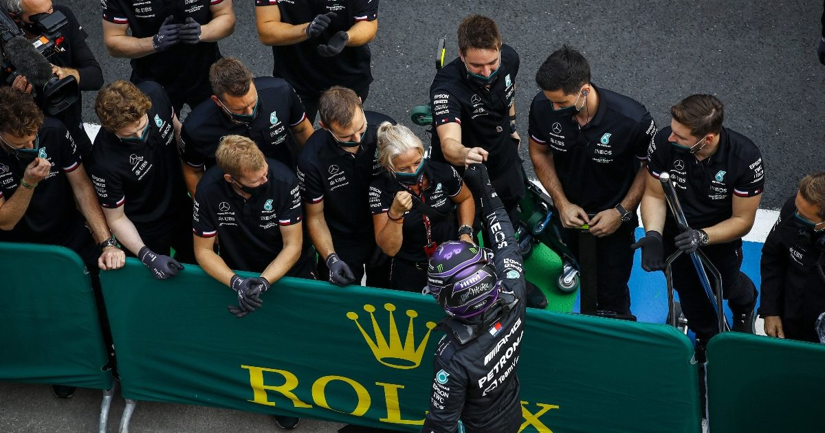 Lewis Hamilton celebrates with his team after claiming pole position. Turkey October 2021