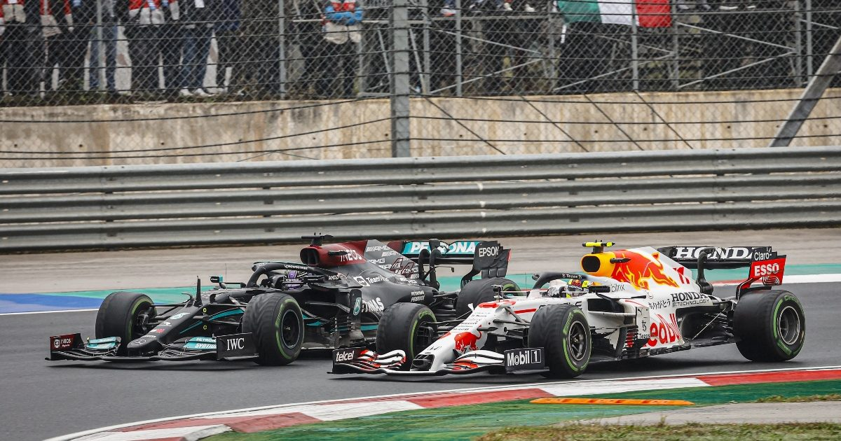 Lewis Hamilton and Sergio Perez side by side. Turkey October 2021