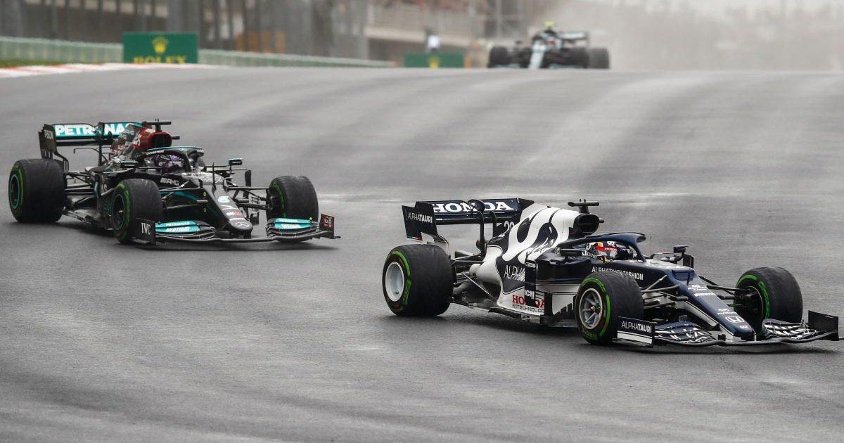 Yuki Tsunoda leads Lewis Hamilton. Turkey October 2021