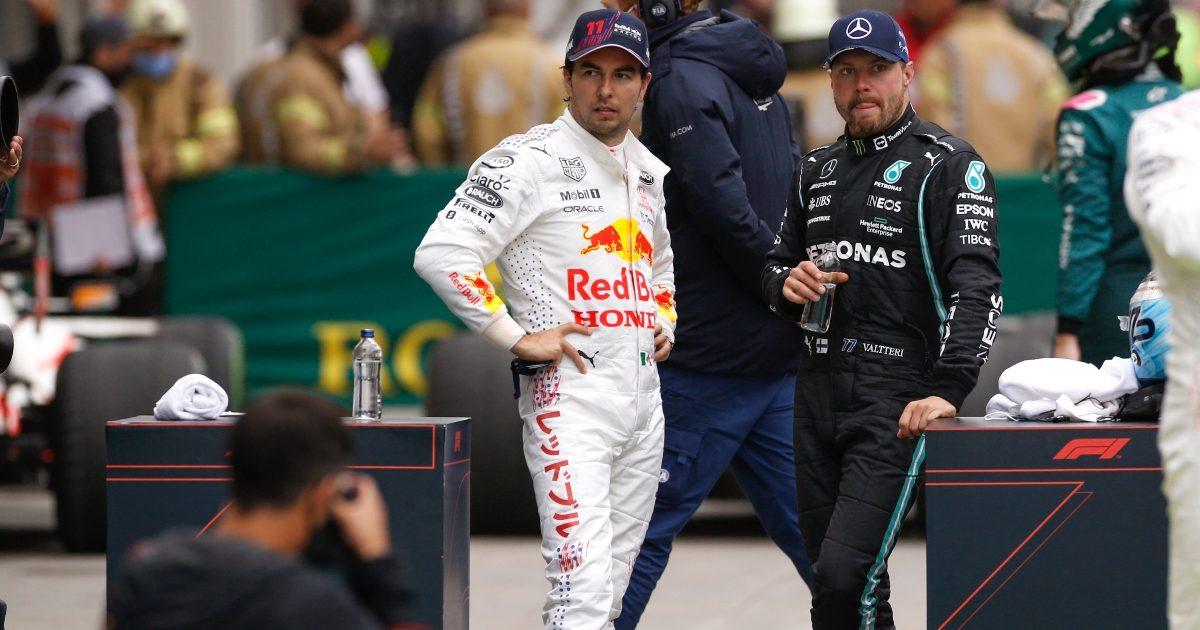 Valtteri Bottas and Sergio Perez in conversation. Turkey October 2021