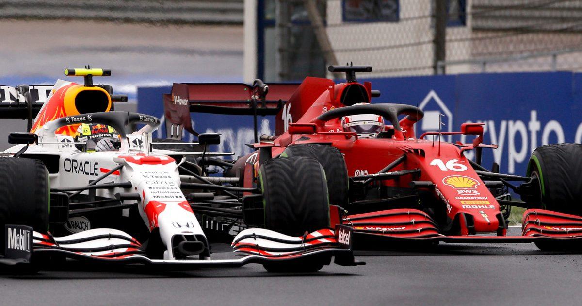 Sergio Perez racing Charles Leclerc. Turkey October 2021