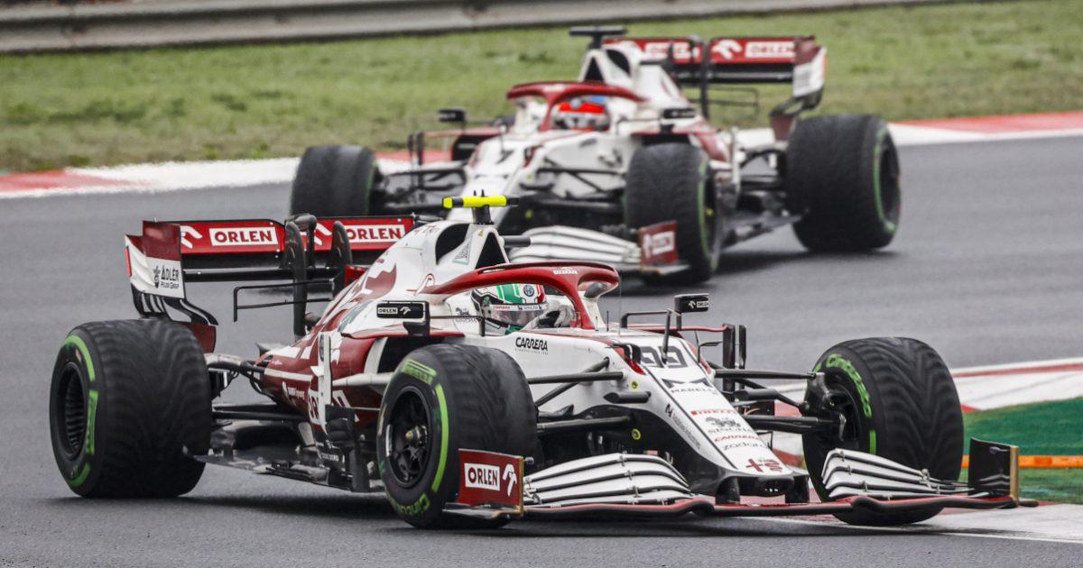 Antonio Giovinazzi leads Kimi Raikkonen. Turkey October 2021