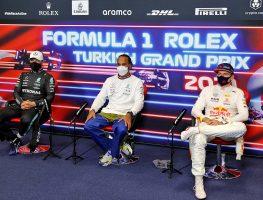 Lewis Hamilton, Max Verstappen and Valtteri Bottas. Istanbul October 2021