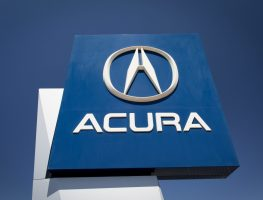 The Acura logo at a factory. September 2018