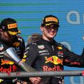 Red Bull drivers Max Verstappen and Sergio Perez. United States GP podium October 2021.