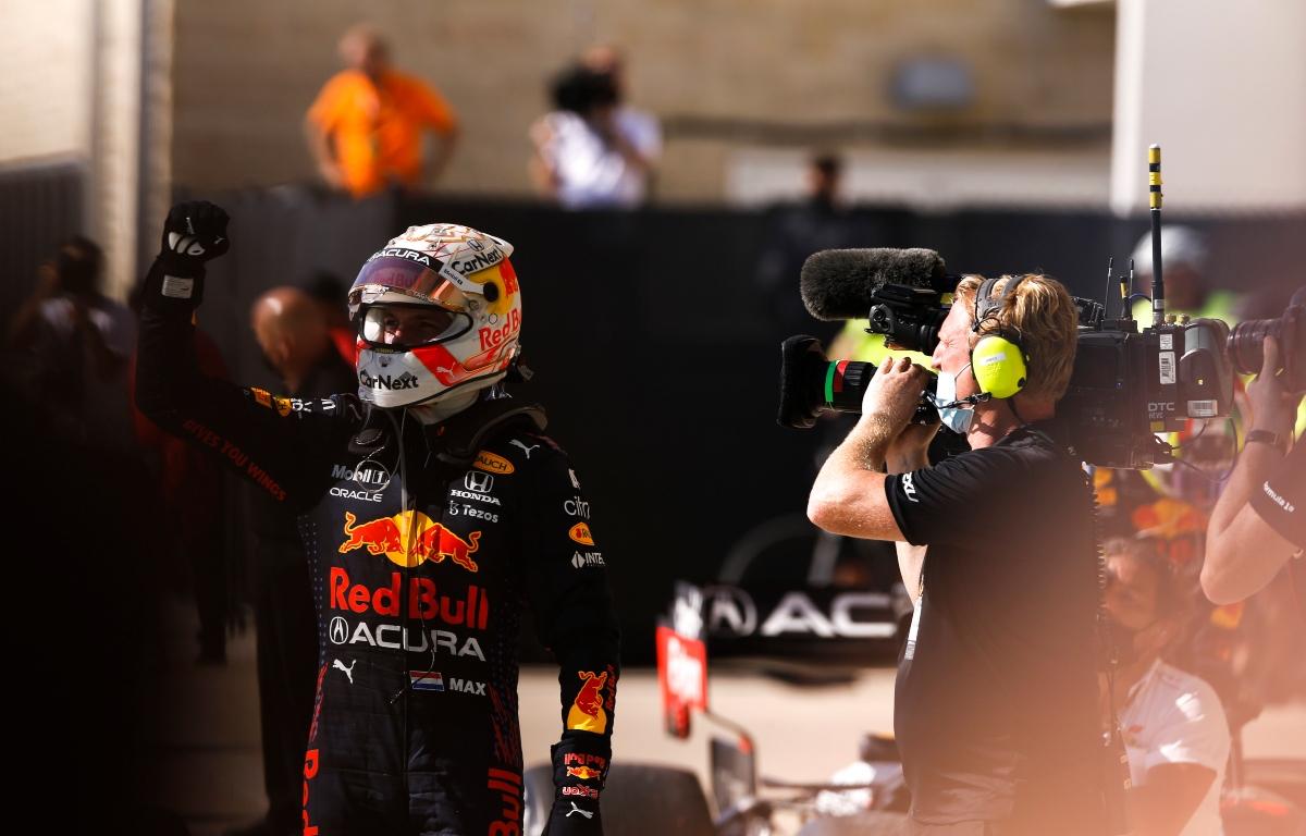 Max Verstappen raising his fist to the air. Austin October 2021
